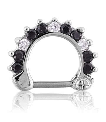 Blue Banana Rhodium Plated 1.2 x 8mm Jewelled Septum Clicker (Black/Crystal)