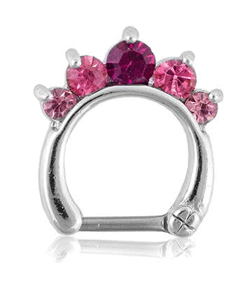 Blue Banana Rhodium Plated 1.2 x 8mm 5 Jewelled Septum Clicker (Fuchsia)