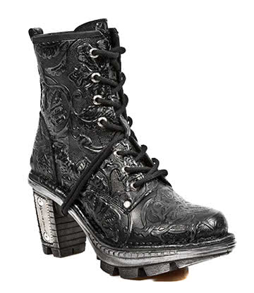 New Rock M.NEOTR008-S2 Vintage Flower Half Boots (Black)