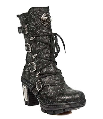 New Rock Style M.NEOTR005-S25 Vintage Flower Boots (Black)