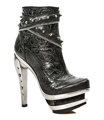 New Rock M.ROCK201-S1 Vintage Flower Boots (Black)