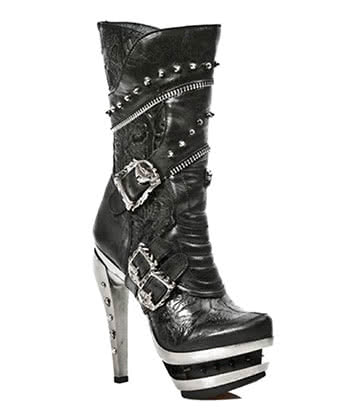 New Rock Style M.ROCK203-S1 Vintage Flower Boots (Black)