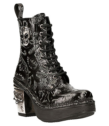 New Rock M.8358-S1 Skull Heel Boots (Black)