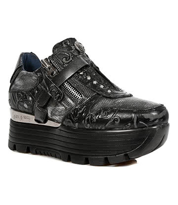 New Rock M.URBAN018-S3 Urban Vintage Platform Shoes (Black/Silver)