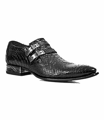 New Rock M.2246-S31 VIP Snakeskin Shoes (Black)