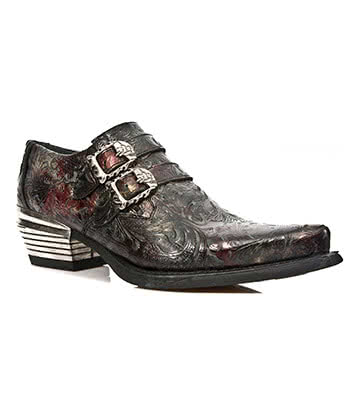 New Rock Style M.7960-S5 Flower Shoes (Black/Red)