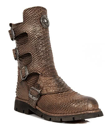 New Rock M.1471-S17 Snakeskin Half Boots (Brown)