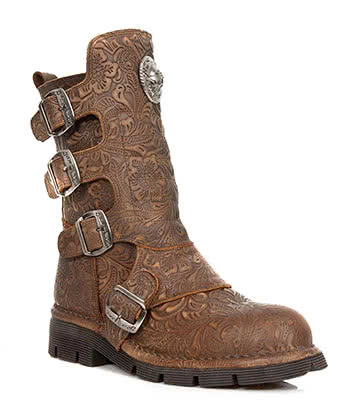 New Rock M.1471-C23 Vintage Flower Boots (Brown)