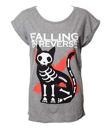 Official Falling In Reverse Cat & Mouse Skinny T Shirt (Grey)