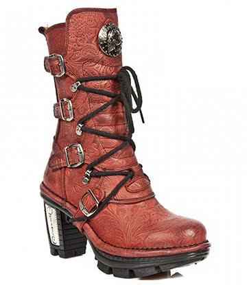 New Rock Style M.NEOTR005-S14 Boots (Red Flower)