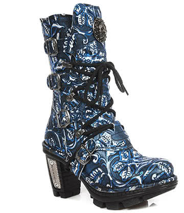 New Rock M.NEOTR005-S32 Vintage Flower Heeled Boots (Blue)
