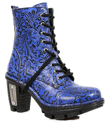 New Rock M.NEOTR006-S2 Vintage Flower Heeled Boots (Blue)