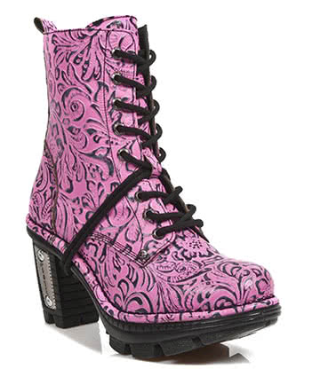 New Rock Style M.NEOTR006-S6 Ankle Boots (Pink)