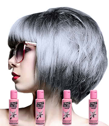 Crazy Color Semi-Permanent Hair Dye 4 Pack 100ml (Silver)