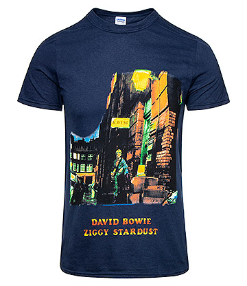 Official David Bowie Ziggy Stardust T Shirt (Navy)