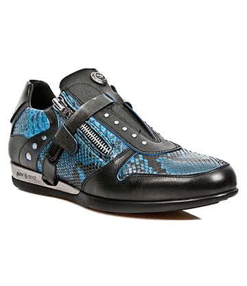 New Rock M.HY018-S2 Hybrid Snakeskin Trainer Shoes (Blue)