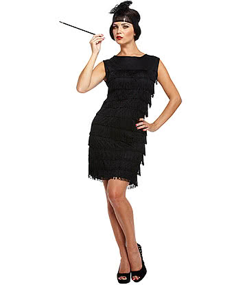 Blue Banana Flapper Girl Fancy Dress Costume (Black)