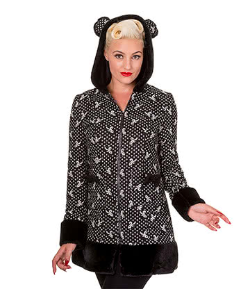 Banned Panda Ears Bow Coat (Black/White)
