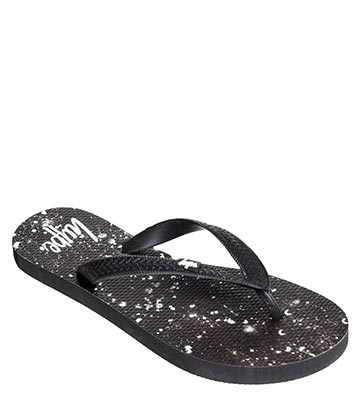 HYPE White Speckle Flip Flops (Black)