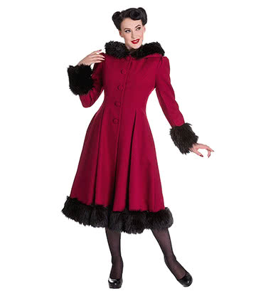 Hell Bunny Elvira Coat (Burgundy)