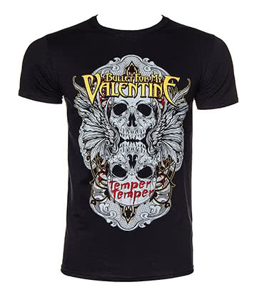 Official Bullet For My Valentine Winged Skull T Shirt (Black)