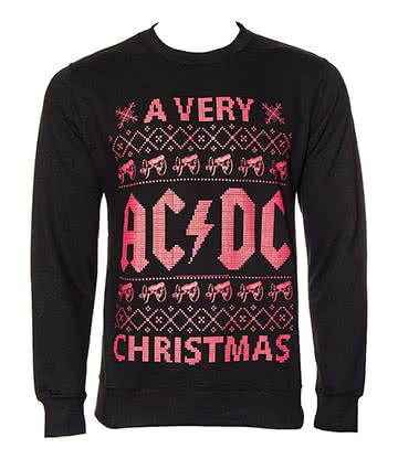 Official AC/DC Christmas Jumper (Black/Red)