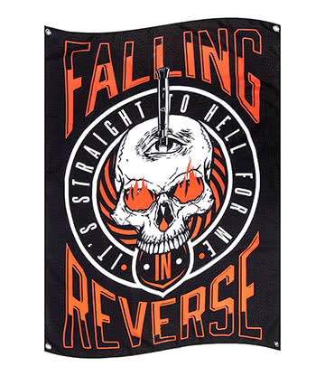 Official Falling In Reverse Straight To Hell Flag (Black)