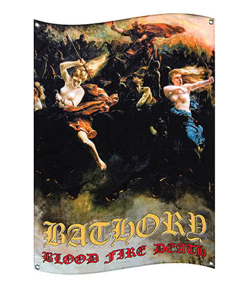 Official Bathory Blood Fire Death Flag (Multicoloured)