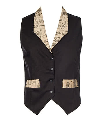 Golden Steampunk La Mode Waistcoat (Black)