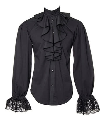 Golden Steampunk Dandy Ruffle Shirt (Black)