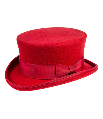 Major Wear Junior Chapeau Haut De Forme Elégant - Enfant (Rouge)