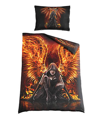 Spiral Direct Flaming Death Single Duvet Set (Black)