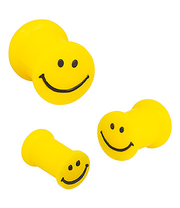 Blue Banana Silicone Smiley Plug 6-24mm (Yellow)