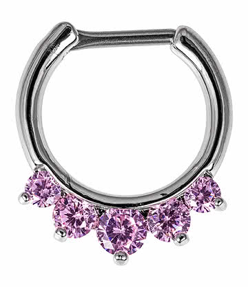 Blue Banana Anneau Piercing Nez Septum Faux Diamant (Rose)