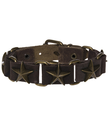 Blue Banana Star Studded 5 Row Wristband (Brown)