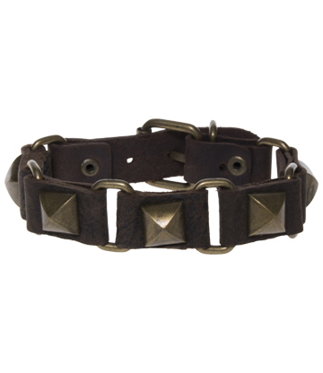 Blue Banana Pyramid Studded 5 Row Wristband (Brown)