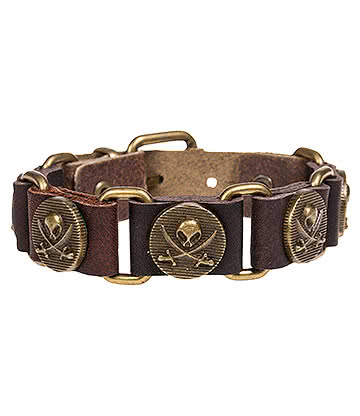 Blue Banana Skull and Crossbones Leather Wristband (Brown)
