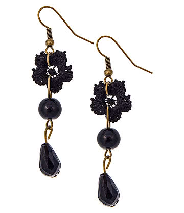 Lace Flower Earrings (Black)