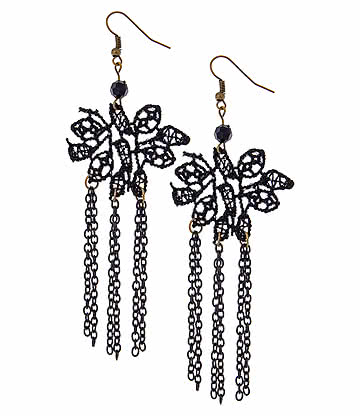 Lace Stone & Chains Earrings (Black)