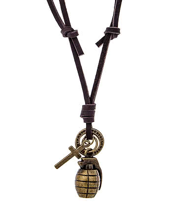 Blue Banana Grenade Necklace (Brown)