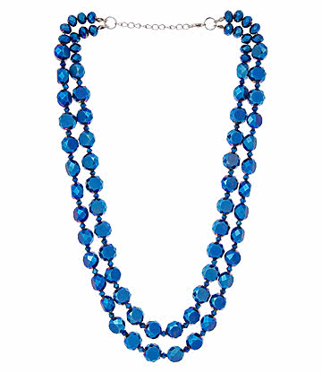 Glass Effect Beaded Necklace (Blue)