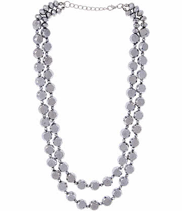 Glass Effect Beaded Necklace (Silver)