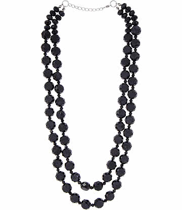 Glass Effect Beaded Necklace (Black)