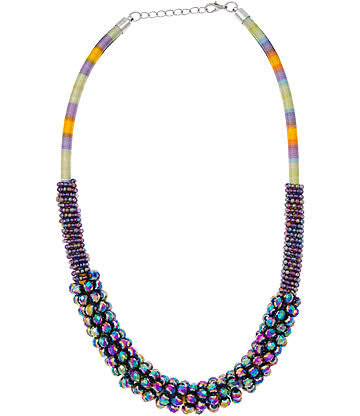 Glass Effect Multi Row Necklace (Multicoloured)