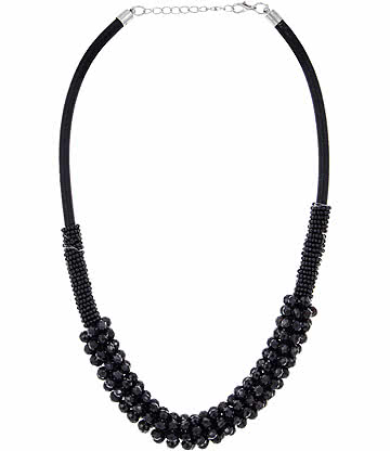 Multi Row Glass Effect Necklace (Black)