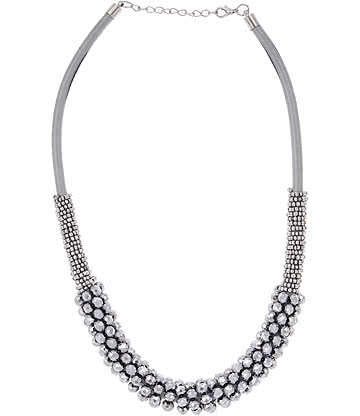 Glass Effect Multi Row Necklace (Silver)