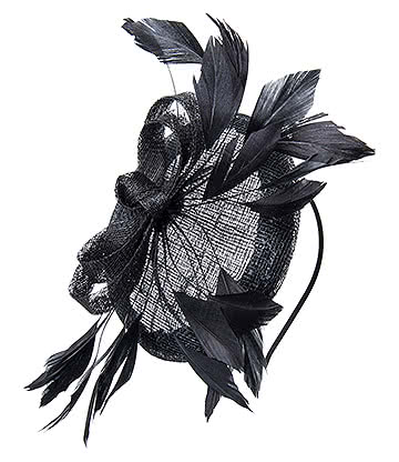 Blue Banana Multi Feather '50s Style Fascinator (Black)