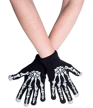 Blue Banana Skeleton Hand Stretchy Touchscreen Gloves (Black)