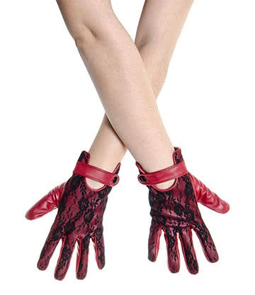 Short Lace Gloves (Black/Red)