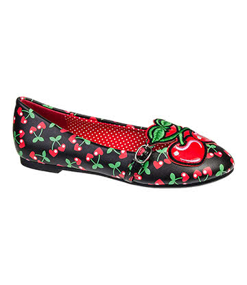 Banned Lovey Flat Shoes (Black/Red)